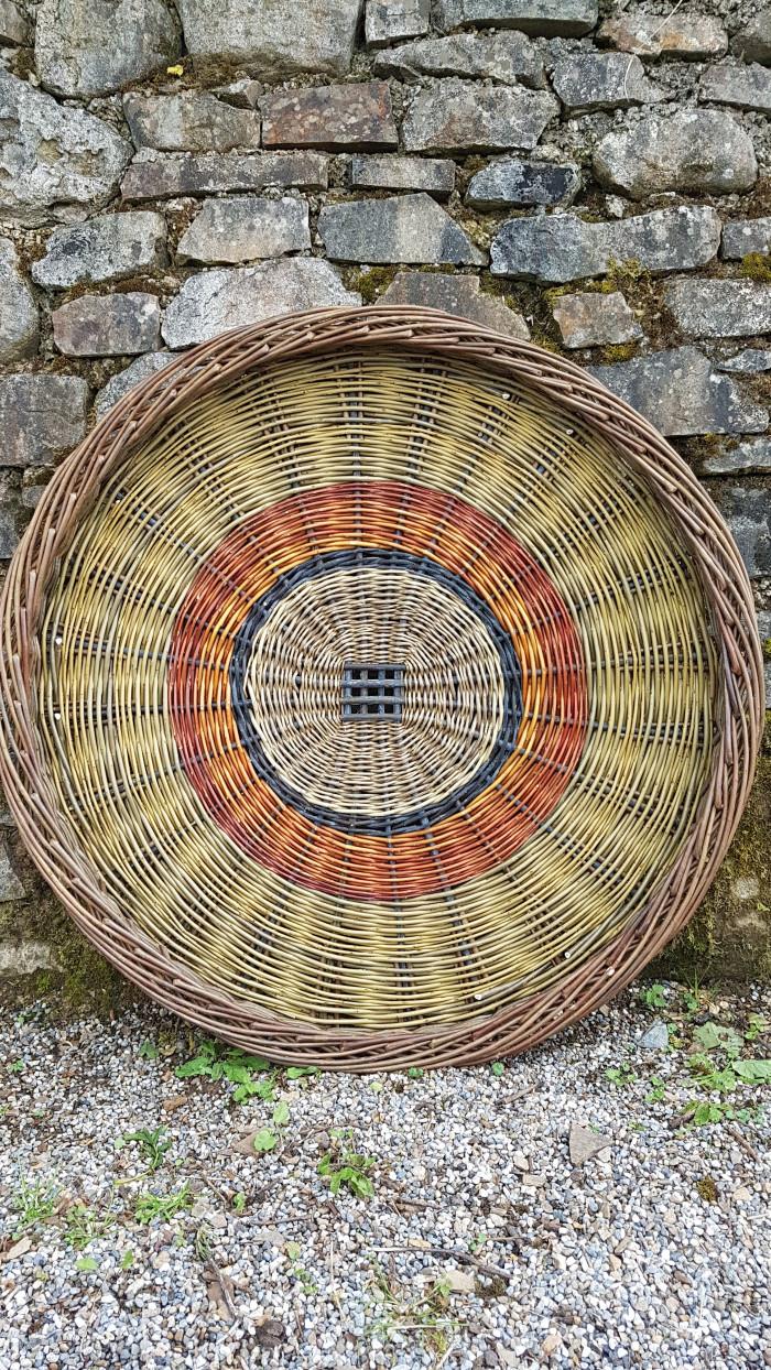 Traditional Irish potato basket, skib, from willow made by Hanna Van Aelst Tipperary Ireland